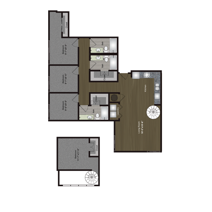 1,522 sq. ft. Auditorium Shores Loft floor plan