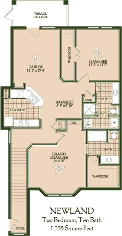 1,135 sq. ft. Newland floor plan