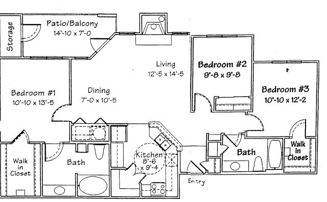 1,218 sq. ft. C floor plan