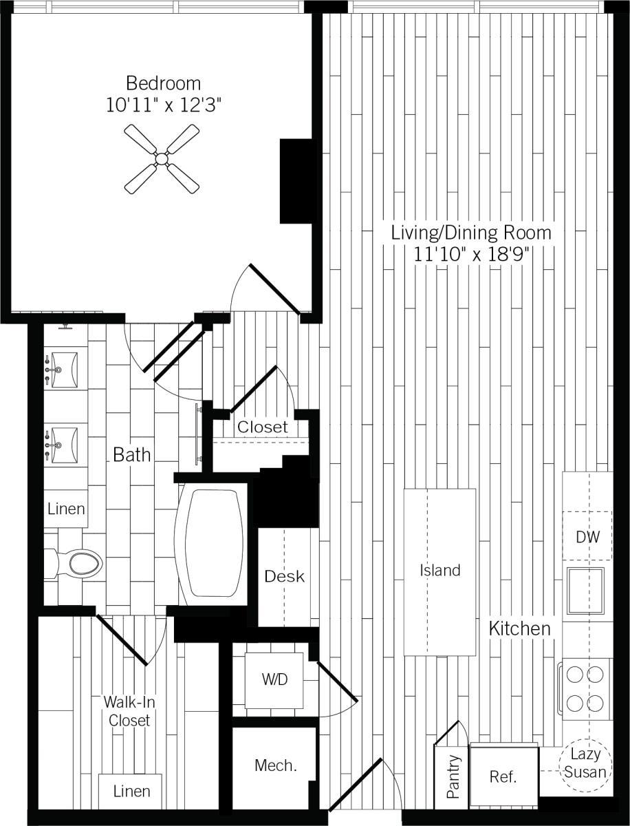 836 sq. ft. 1H floor plan