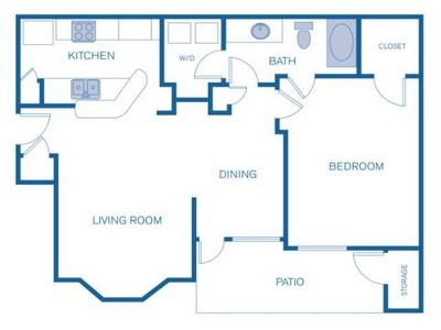 736 sq. ft. B floor plan