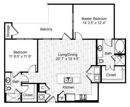 1,187 sq. ft. B2 Alt floor plan