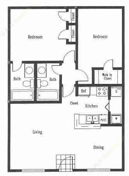 885 sq. ft. B2 floor plan