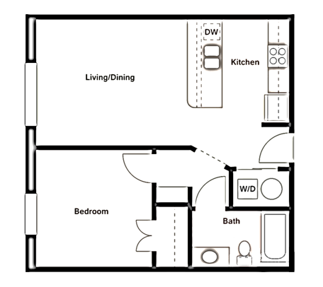 641 sq. ft. A1 floor plan
