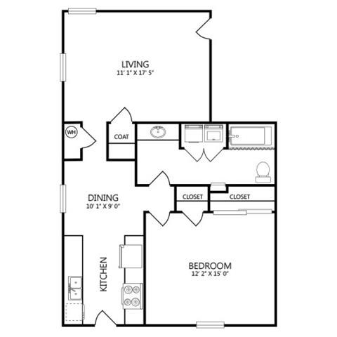 775 sq. ft. A7 floor plan