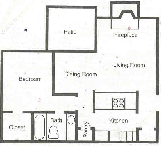 653 sq. ft. A1/60% floor plan