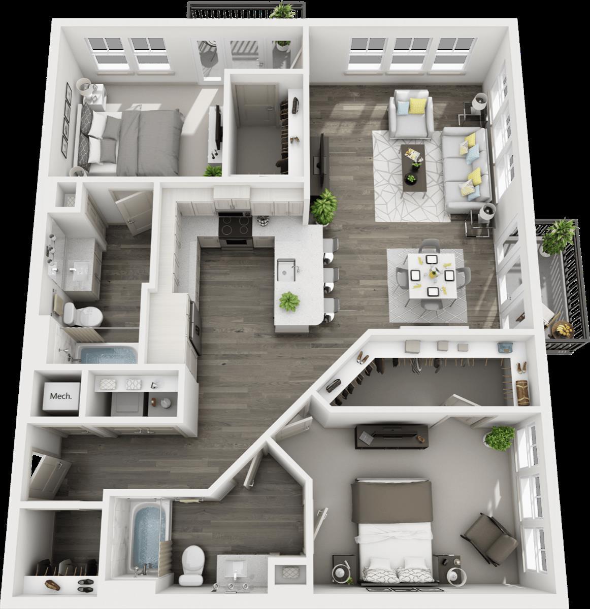1,359 sq. ft. B3 floor plan
