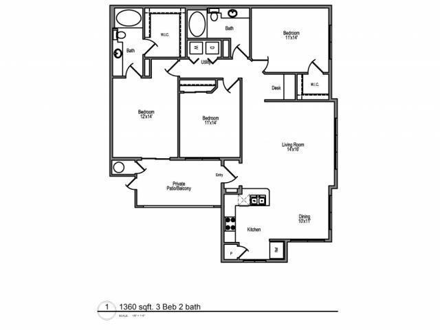 1,360 sq. ft. Cayman floor plan
