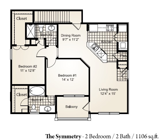 1,106 sq. ft. SYMMETRY floor plan