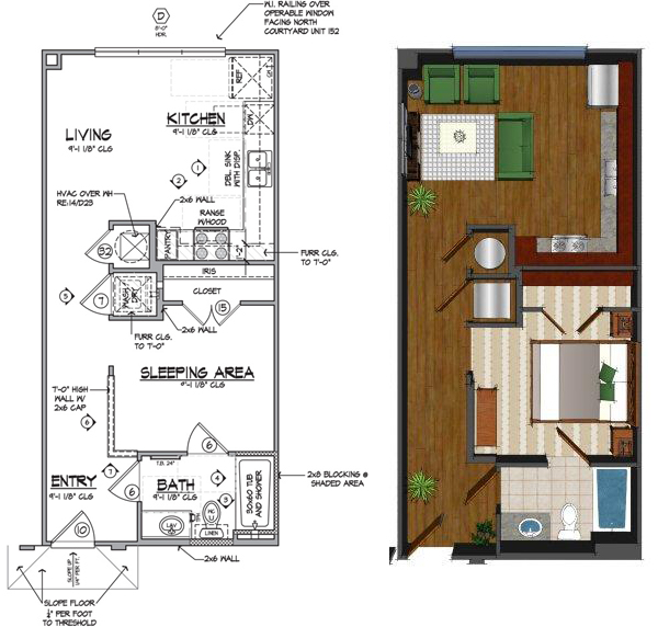 559 sq. ft. B floor plan