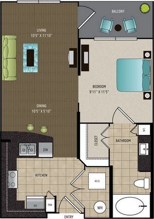 596 sq. ft. A1A floor plan