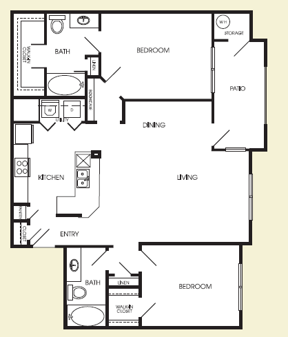 1,094 sq. ft. Midtown floor plan