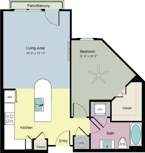 754 sq. ft. Stretch (A1D) floor plan
