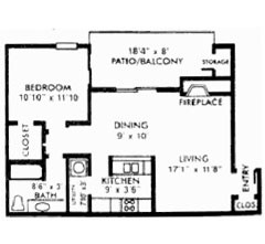 739 sq. ft. C floor plan
