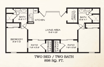 898 sq. ft. floor plan