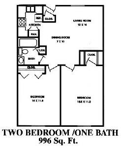 996 sq. ft. B floor plan