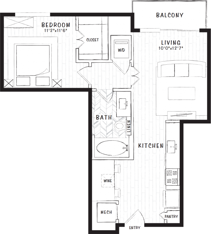648 sq. ft. S1 floor plan