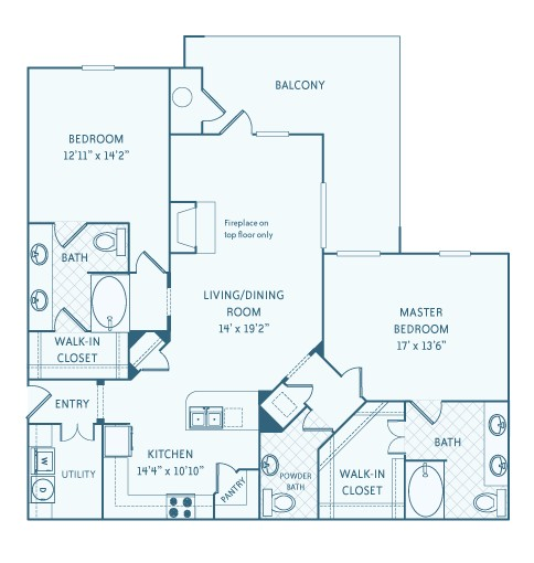 1,530 sq. ft. to 1,543 sq. ft. B5 floor plan