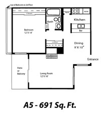 691 sq. ft. A5 floor plan