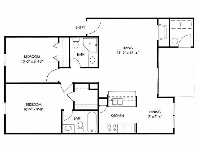 915 sq. ft. floor plan