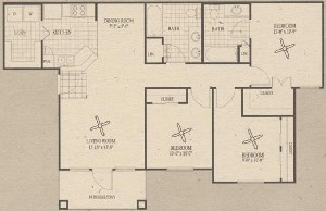 1,068 sq. ft. C1 floor plan