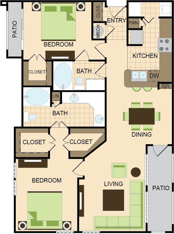 1,256 sq. ft. E floor plan