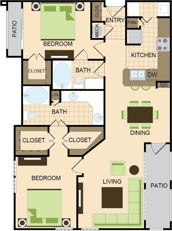 1,256 sq. ft. E floor plan