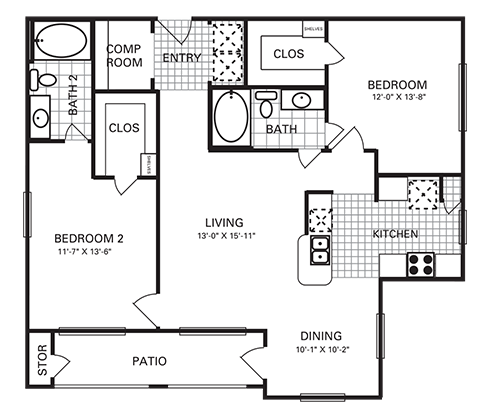 1,153 sq. ft. B4 PH II floor plan
