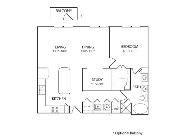 1,011 sq. ft. A3A floor plan