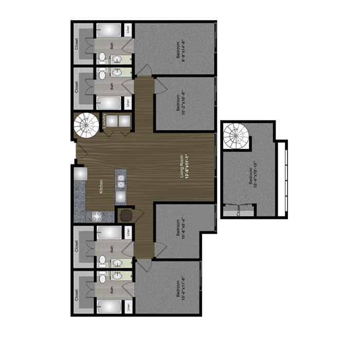 1,723 sq. ft. 360 Loft floor plan