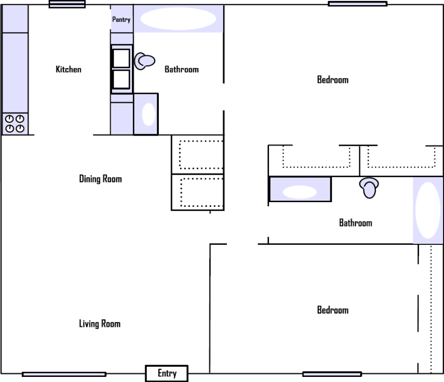 999 sq. ft. floor plan