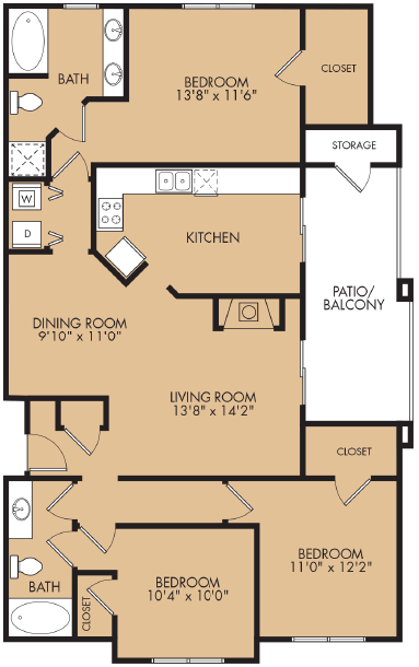 1,352 sq. ft. C1 floor plan