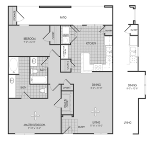 1,079 sq. ft. MAPLE/60 floor plan