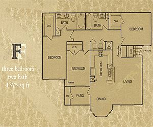 1,375 sq. ft. F floor plan