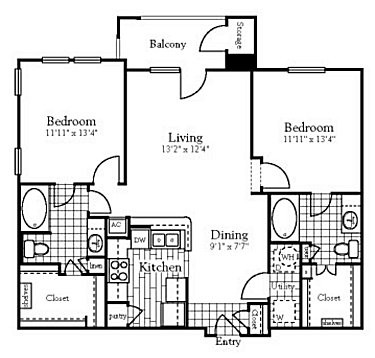 1,070 sq. ft. floor plan
