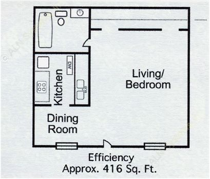 416 sq. ft. Studio-1 floor plan