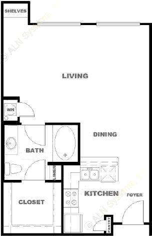 671 sq. ft. ALR floor plan