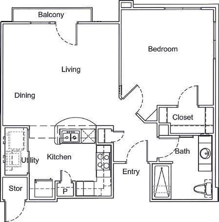 750 sq. ft. Mkt floor plan
