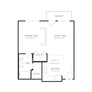 609 sq. ft. 2A1 floor plan