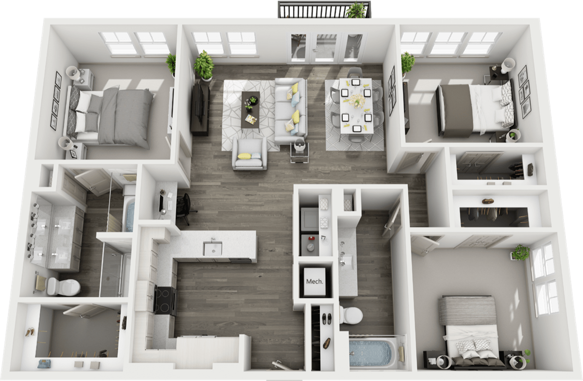 1,475 sq. ft. C1 floor plan