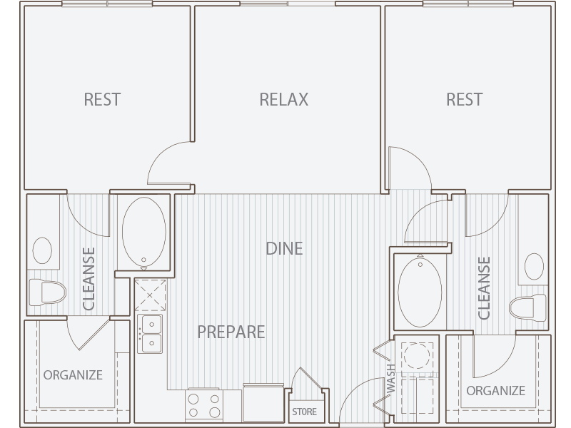 1,003 sq. ft. B1* floor plan