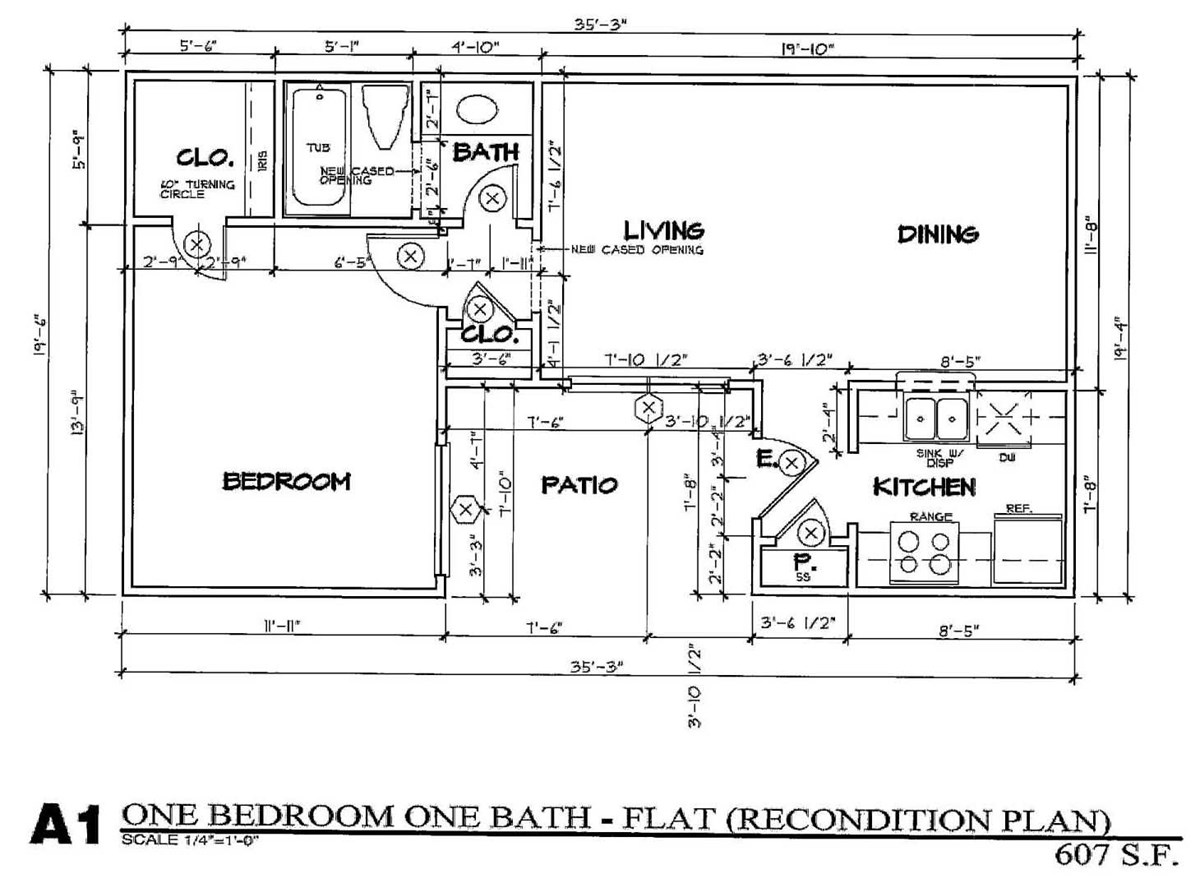 607 sq. ft. A1/50 floor plan