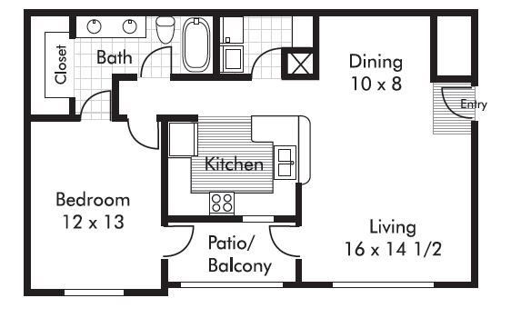 840 sq. ft. Vermillion floor plan