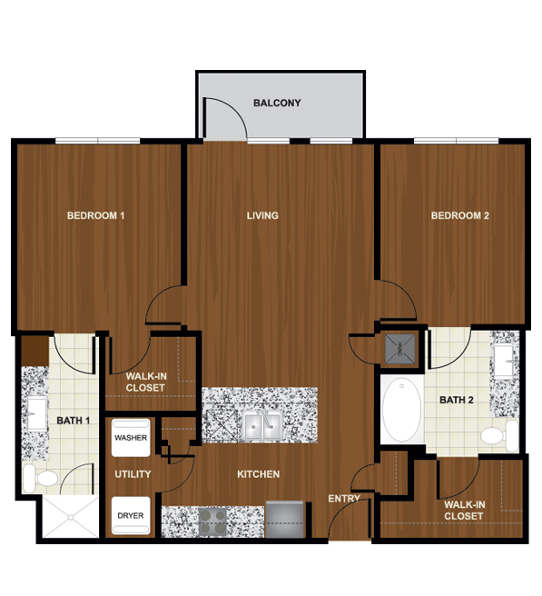 1,002 sq. ft. B2 floor plan