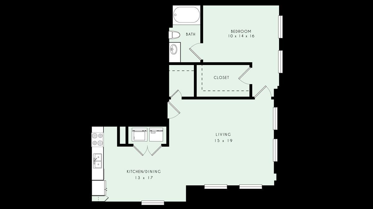 964 sq. ft. 80% floor plan