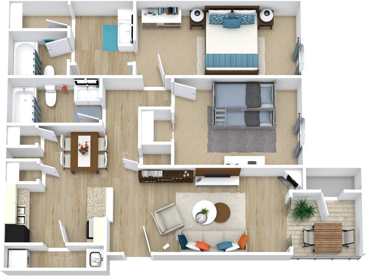 961 sq. ft. Elizabeth floor plan