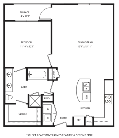 874 sq. ft. A12 floor plan