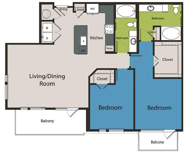 1,281 sq. ft. B5 floor plan