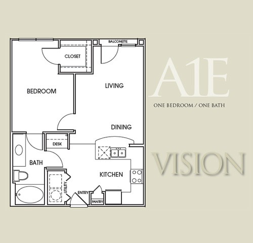 680 sq. ft. A1E floor plan