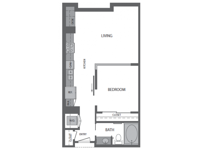 680 sq. ft. A floor plan